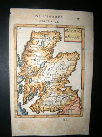 Mallet 1683 Antique Hand Col Map. Royaume d'Ecosse. Scotland